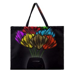 Flowers Painting Still Life Plant Zipper Large Tote Bag