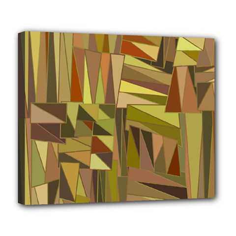 Earth Tones Geometric Shapes Unique Deluxe Canvas 24  X 20   by Simbadda