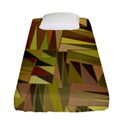 Earth Tones Geometric Shapes Unique Fitted Sheet (single Size) by Simbadda