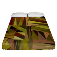 Earth Tones Geometric Shapes Unique Fitted Sheet (king Size) by Simbadda