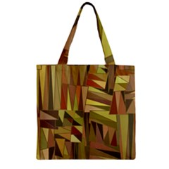 Earth Tones Geometric Shapes Unique Zipper Grocery Tote Bag by Simbadda