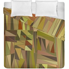 Earth Tones Geometric Shapes Unique Duvet Cover Double Side (king Size) by Simbadda