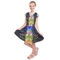 Chakra Spiritual Flower Energy Kids  Short Sleeve Dress by Simbadda