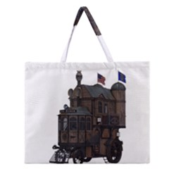 Steampunk Lock Fantasy Home Zipper Large Tote Bag by Simbadda