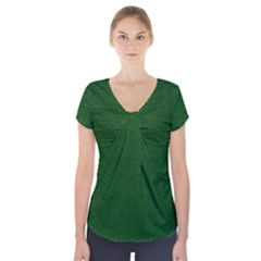 Texture Green Rush Easter Short Sleeve Front Detail Top by Simbadda