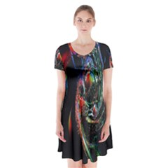 Abstraction Dive From Inside Short Sleeve V Neck Flare Dress