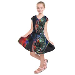 Abstraction Dive From Inside Kids  Short Sleeve Dress by Simbadda