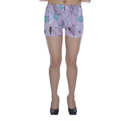 Background Texture Flowers Leaves Buds Skinny Shorts by Simbadda
