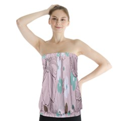 Background Texture Flowers Leaves Buds Strapless Top