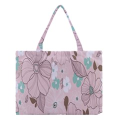 Background Texture Flowers Leaves Buds Medium Tote Bag by Simbadda