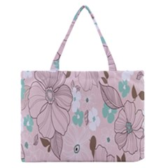 Background Texture Flowers Leaves Buds Medium Zipper Tote Bag by Simbadda