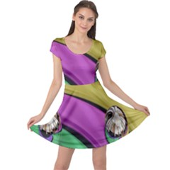 Balloons Colorful Rainbow Metal Cap Sleeve Dresses by Simbadda