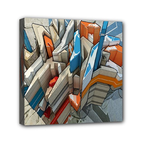 Abstraction Imagination City District Building Graffiti Mini Canvas 6  X 6  by Simbadda