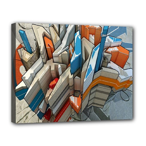 Abstraction Imagination City District Building Graffiti Canvas 14  X 11  by Simbadda