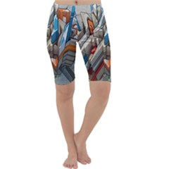 Abstraction Imagination City District Building Graffiti Cropped Leggings  by Simbadda