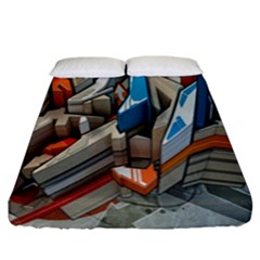 Abstraction Imagination City District Building Graffiti Fitted Sheet (king Size) by Simbadda