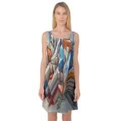 Abstraction Imagination City District Building Graffiti Sleeveless Satin Nightdress