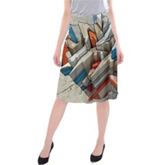Abstraction Imagination City District Building Graffiti Midi Beach Skirt