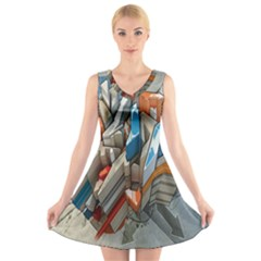 Abstraction Imagination City District Building Graffiti V Neck Sleeveless Skater Dress
