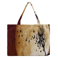 Birds Sky Planet Moon Shadow Medium Zipper Tote Bag
