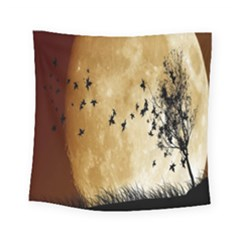 Birds Sky Planet Moon Shadow Square Tapestry (small) by Simbadda