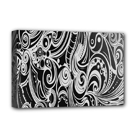 Black White Pattern Shape Patterns Deluxe Canvas 18  X 12   by Simbadda