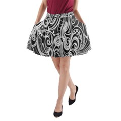 Black White Pattern Shape Patterns A Line Pocket Skirt by Simbadda