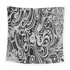 Black White Pattern Shape Patterns Square Tapestry (large) by Simbadda