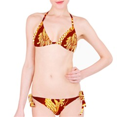 Fabric Pattern Dragon Embroidery Texture Bikini Set by Simbadda