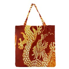 Fabric Pattern Dragon Embroidery Texture Grocery Tote Bag by Simbadda