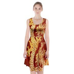 Fabric Pattern Dragon Embroidery Texture Racerback Midi Dress by Simbadda