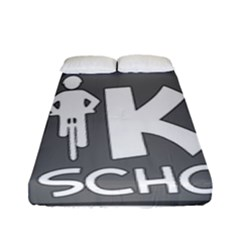 Bicycle Walk Bike School Sign Grey Fitted Sheet (full/ Double Size) by Alisyart