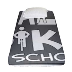 Bicycle Walk Bike School Sign Grey Fitted Sheet (single Size)