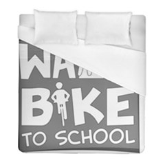 Bicycle Walk Bike School Sign Grey Duvet Cover (full/ Double Size) by Alisyart