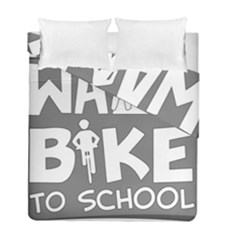 Bicycle Walk Bike School Sign Grey Duvet Cover Double Side (full/ Double Size)