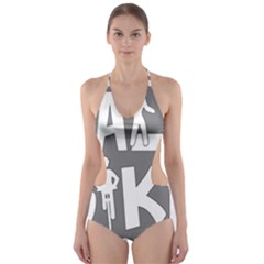 Bicycle Walk Bike School Sign Grey Cut Out One Piece Swimsuit