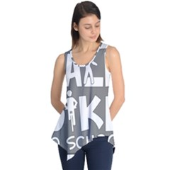 Bicycle Walk Bike School Sign Grey Sleeveless Tunic