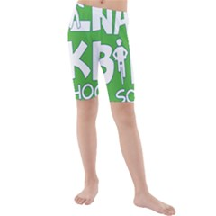Bicycle Walk Bike School Sign Green Blue Kids  Mid Length Swim Shorts by Alisyart