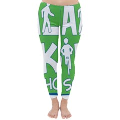 Bicycle Walk Bike School Sign Green Blue Classic Winter Leggings
