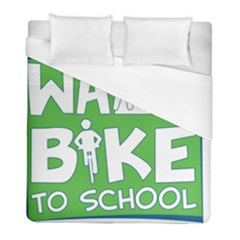 Bicycle Walk Bike School Sign Green Blue Duvet Cover (full/ Double Size) by Alisyart
