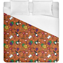 Wine Cheede Fruit Purple Yellow Orange Duvet Cover (king Size) by Alisyart
