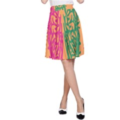 Brian Pink Green Orange Smart A Line Skirt by Alisyart