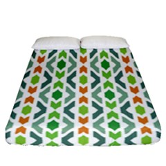 Chevron Wave Green Orange Fitted Sheet (queen Size)
