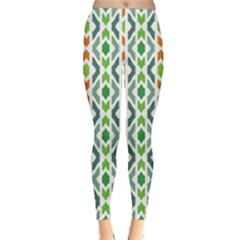 Chevron Wave Green Orange Classic Winter Leggings