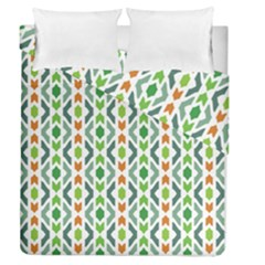 Chevron Wave Green Orange Duvet Cover Double Side (queen Size)
