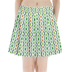 Chevron Wave Green Orange Pleated Mini Skirt