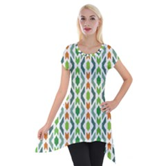 Chevron Wave Green Orange Short Sleeve Side Drop Tunic by Alisyart