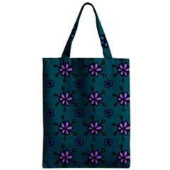 Blue Purple Floral Flower Sunflower Frame Zipper Classic Tote Bag by Alisyart