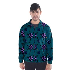 Blue Purple Floral Flower Sunflower Frame Wind Breaker (men) by Alisyart