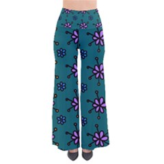 Blue Purple Floral Flower Sunflower Frame Pants by Alisyart